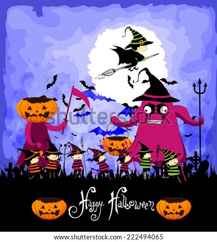 Happy Halloween with children trick or treating - stock photo