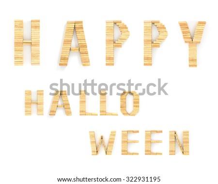 Happy Halloween words on white background,Alphabet wood domino type blocks - stock photo