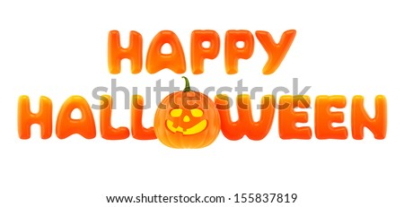 Happy Halloween words with jack-o-lantern - stock photo