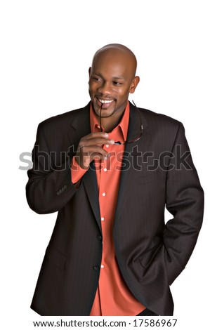 Happy handsome African-American man smiling