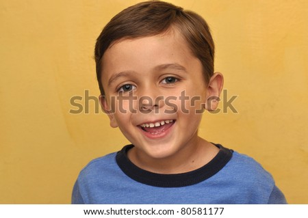 Happy handsome boy with big smile - stock photo