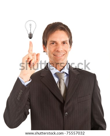 Happy handsome businessman having a good idea. - stock photo