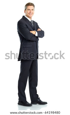 Happy handsome businessman. Isolated over white background - stock photo
