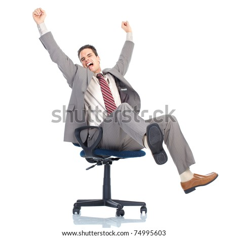 Happy handsome businessman. Isolated over white background.