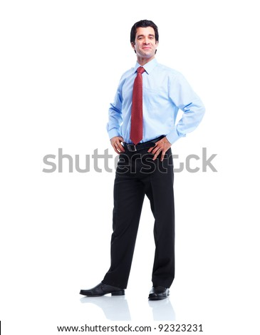 Happy handsome businessman. Isolated over white background. - stock photo