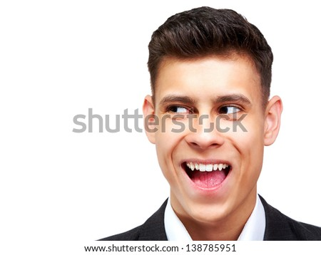 Happy handsome collage student in suit over white background - stock photo