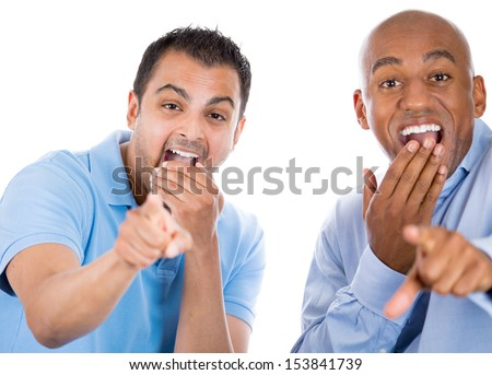 Happy, handsome, excited male guys pointing fingers and laughing at you, isolated over white background - stock photo