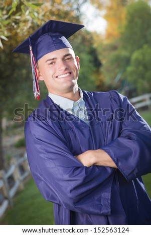 Happy Handsome Male Graduate Cap Gown Stock Photo 152563124 ...