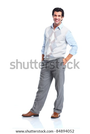 Happy handsome man. Isolated over white background. - stock photo