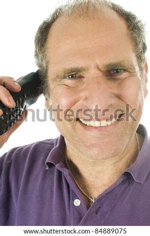 happy handsome middle age senior man business service rep happy  talking on telephone