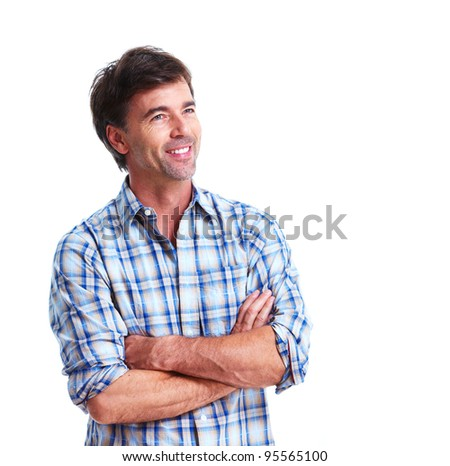 Happy handsome smiling man. Isolated over white background. - stock photo