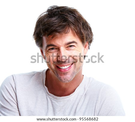 Happy handsome smiling man. Isolated over white background.