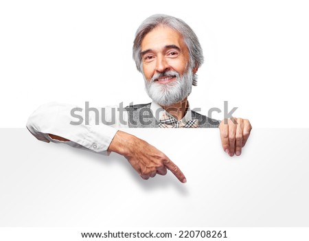 Happy handsome smiling old man pointing banner. Isolated over white background. - stock photo