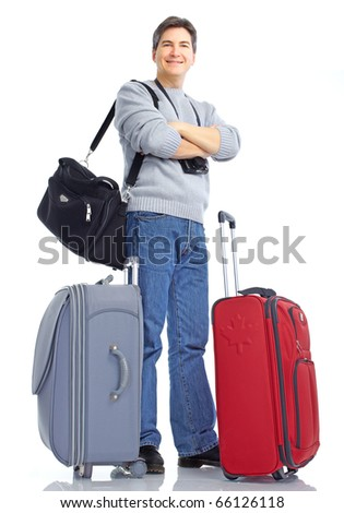 Happy handsome tourist man . Isolated over white background - stock photo