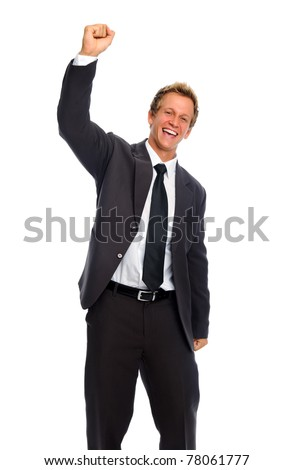 Happy handsome white man punches his fist into the air - stock photo
