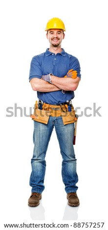 happy handyman crossed arms isolated on white - stock photo