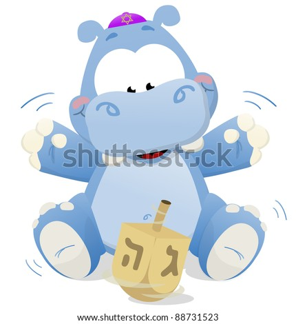 Happy Hanukkah Hippo playing with a dreidel