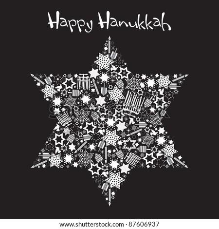 Happy Hanukkah Star of David with star made up of menorahs, dreidels and stars - stock photo