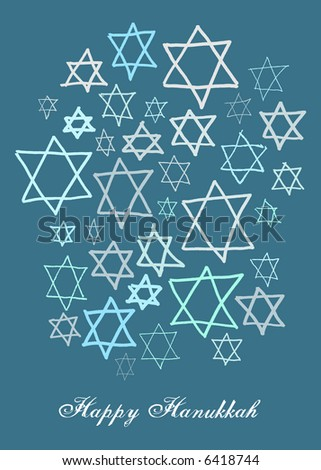 Happy Hanukkah stars in different blues on a dark blue background