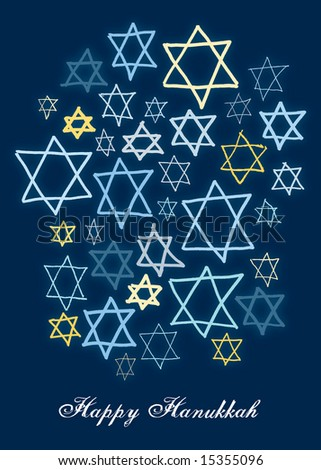 Happy Hanukkah stars on a dark blue background - stock photo