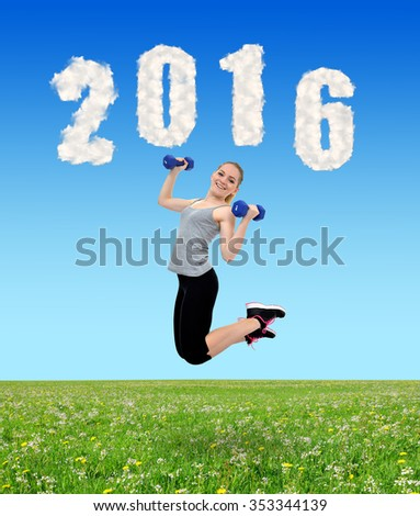 Happy healthy active girl jumps with dumbbells. Healthy resolutions for the New Year 2016. - stock photo