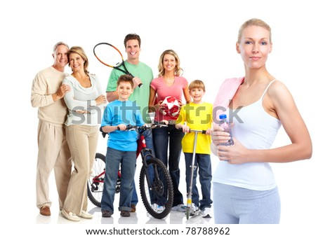Happy healthy fitness people. Over white background - stock photo