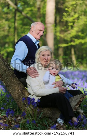 Happy healthy grandparents relaxing in beautiful summer forest full of bluebells flowers with their little granddaughter, cute toddler girl - active retirement concept