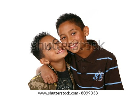 Happy Healthy Latino Kids on White Background