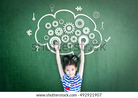 Happy healthy smart school girl child kid raising engineering gear in computing cloud mind imagination doodle on green chalkboard background for world mental health day awareness campaign idea concept