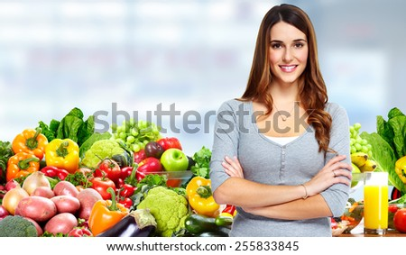 Happy healthy Woman losing weight. Health and diet - stock photo