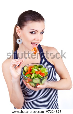 happy healthy woman with salad - stock photo