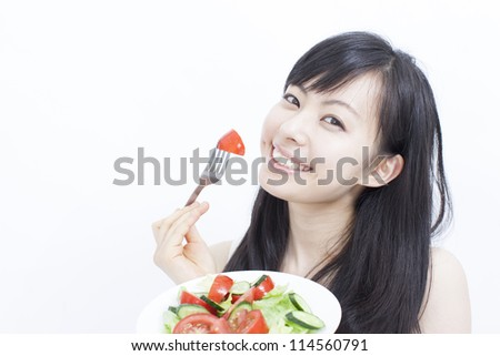 happy healthy woman with salad on white background - stock photo
