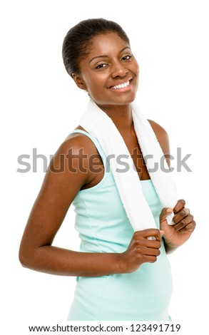 Happy healthy young black woman wearing gym clothes isolated on white background