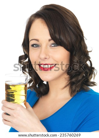 Happy Healthy Young Woman Drinking Apple Juice