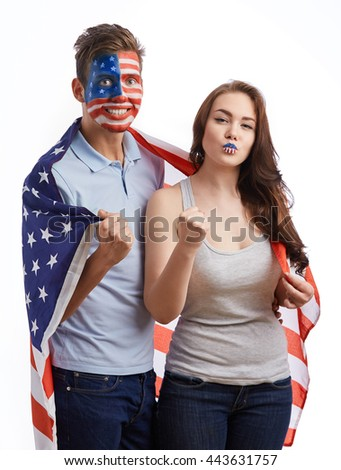 Happy White American Woman