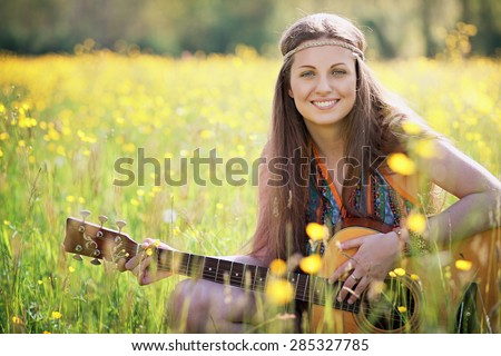 Happy hippie woman smiling. Freedom and harmony - stock photo