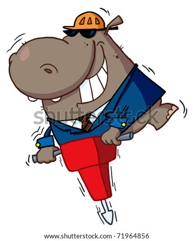 Happy Hippo Worker Operating A Vibrating Jackhammer - stock photo