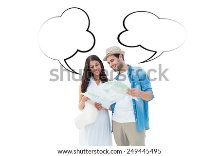 Happy hipster couple looking at map against speech bubble - stock photo