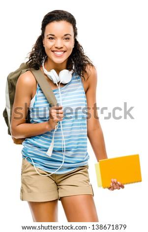 Happy hispanic woman student going back to school - stock photo