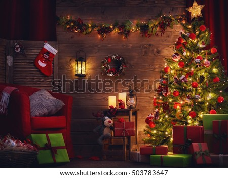 Happy Holiday Beautiful Living Room Decorated Stock Photo 503783647 Shutterstock