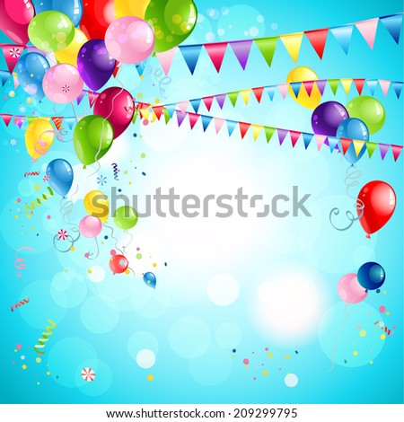 Happy holiday background with bright multicollor balloons. Raster version. - stock photo