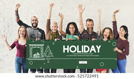 Happy Holiday Break Celebrate Party Enjoyment Concept