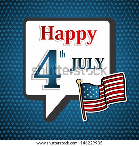 Happy Holiday National Independence 4th July US concept background. This illustration is layered for easy manipulation and custom coloring - stock photo