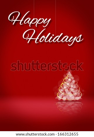 Happy Holiday Tree Blank 3D Greeting Card Background Template - stock photo