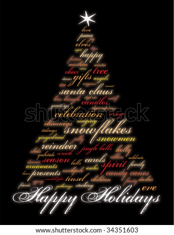 happy holidays and other words in the shape of a christmas tree - stock photo