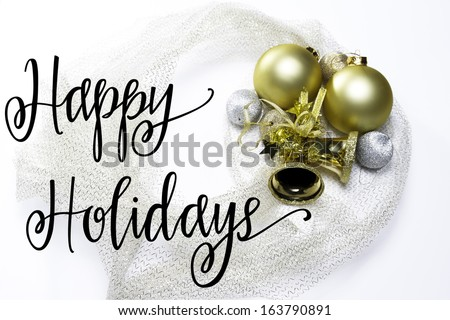 Happy Holidays Christmas Bells Bulbs - stock photo