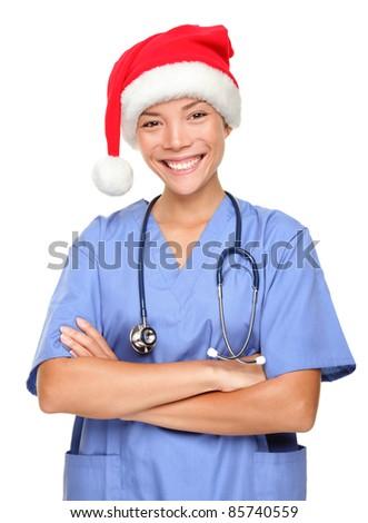 Happy holidays christmas nurse - stock photo