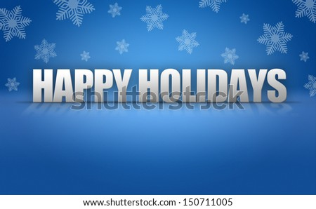 Happy Holidays 3D text on blue snowflake background pattern - stock photo