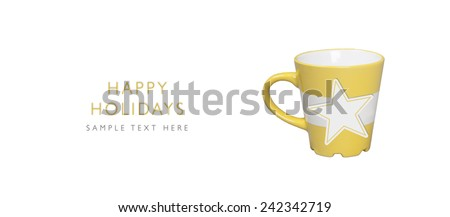 Happy Holidays, Paper star shape on yellow mug with place for your text, isolated on white background - stock photo