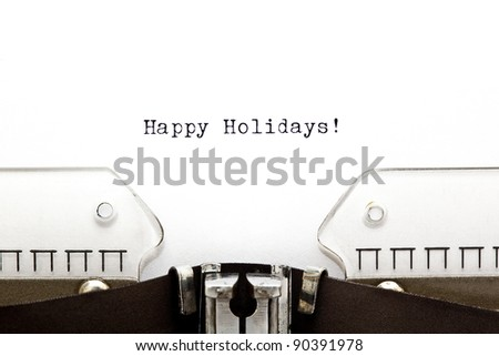 Happy Holidays written on an old typewriter. - stock photo